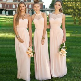 Wholesale Halter Blush Prom - Elegant Long Navy Light Pink Bridesmaid Dresses 2017 Halter Pleat Lace Chiffon Peach Maid Of Honor Prom Dress Cheap With Ruffle Blush Formal