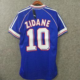 Taille du jersey de football en Ligne-1998 rétro France maillot de football nom personnalisé numéro zidane 10 henry 12 maillots de football top qualité football vêtements français grande taille xxl