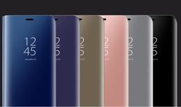 2019 подставка для окон Новый Для Samsung S8 plus Зеркальный Вид Случаях Прозрачное Окно Хром Флип Стенд Гальваническим Телефон Кошелек Кожаный Чехол Чехол Для Galaxy S7 SCA276 скидка подставка для окон