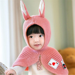 Wholesale Lovely Baby Shawls - Infant Girl Outwear 2017 Thick Spring Autumn Winter Warm Rabbit Ears Shape Baby Wool Shawls Cap Hat Cute Lovely Baby Crochet Hat