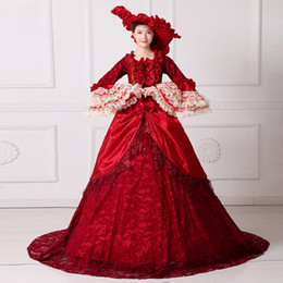 Wholesale Red Theatre - Brand New 2017 Red O-Neck Long Flare Sleeve Lace Floor-Length 18th Century Marie Antoinette Dress Medieval Long Train Theatre Costume