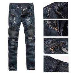 Wholesale Wholesale Mens Skinny Jeans - Wholesale- 2017 Hi-Street Mens Ripped Rider Biker Jeans Motorcycle Slim Fit Washed Blue Moto Denim Pants for Skinny Men Hight Quality Pants