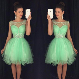 Wholesale Mint Green Short Cocktail Dresses - Mint Short Homecoming Dresses Sweet 16 Off Shoulder Tulle Crystals Sexy Cocktail Party Dresses 2017 Cheap Puffy Prom Dress