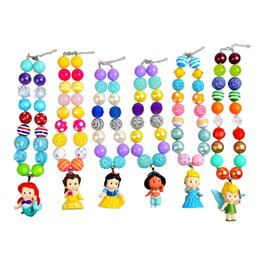 Wholesale Girl Princess Jewelry Set - Childrens' Princess Pendants Necklaces Chunky Bubblegum Beaded Pandent Kids Toddlers Girls Jewelry Birthday Party Gift 6PCS Set 0601238