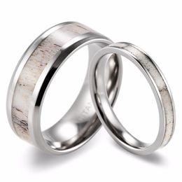 Wholesale Titanium D Ring - SHARDON 2016 new Couples Antler Wedding Ring Set Beveled Titanium Wild Antler Inlay Rings(2pcs) Fashion lovers rings Jewelry have in stock