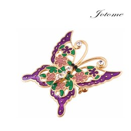 Wholesale Gold Butterfly For Decoration - 100PCS Lot 2017 Hot Sale New Design Purple Enamel Gold Plated Alloy Butterfly Spring Summer Brooch Pin For Garment Decoration