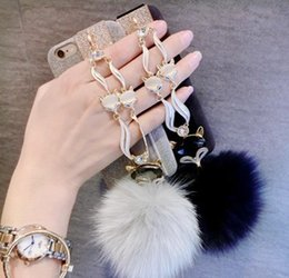 Wholesale Rhinestones For Iphone - For iphone 7 6s plus Fashion Diamond Bling Rabbit Fur Hair Fox Head Case Cover For iphone7 7plus 6