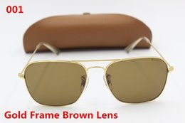 Wholesale Protection Drivers - 1Pcs high quality men ladies fashion vintage brand sunglasses driver sunglasses golden frame brown glass lens UV400 protection free shipping