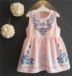 Wholesale Blue White Dress Porcelain - 2017 hot Korean styles girl Lotus Blue and white porcelain printed sleeveless dress infant girl china style vest Dress