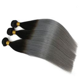 Wholesale Cheap Brazilian Hair Blonde - 3pcs lot Brazilian Ombre Hair Weft Two Tone Color 1B 613 1b Gray Blonde Peruvian Straight Human Hair Weaves Sfot Cheap Hair Bundles