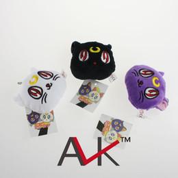 Wholesale Luna Plush - Wholesale-1PC Anime Sailormoon Plush Toy Dolls 7cm Sailor moon Luna Cat Keychain Pendant kawaii key ring plush toys