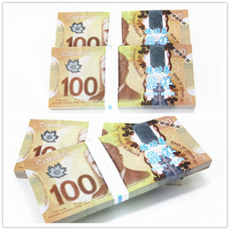 Wholesale New Props - 100PCS Canada C$100 Movie Props Money Bank Staff Training Learning Banknotes Home Holiday Decoration Arts Collectible Gifts