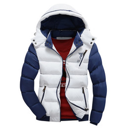 Wholesale Wholesale Outdoor Jackets - Fashion Man's Puff Jacket Outdoor Warm Padded Hooded Slim Patchwork Outwear Winter thicken Coats