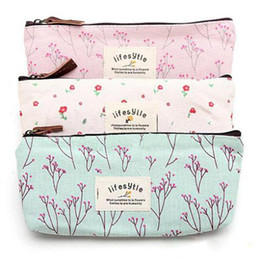 Wholesale Cosmetic Bags Purse - Hot Sale Flower Floral Pencil Pen Canvas Case Cosmetic Small Makeup Tool Bag Storage Pouch Purse
