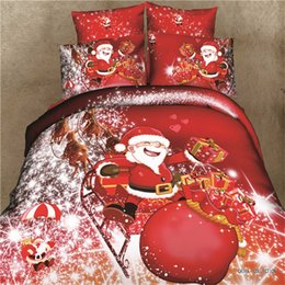 Wholesale Christmas Red Duvets - Wholesale-SaLin 3D Christmas Gift Santa Claus Bedding Sets Bed Sheets Red Rose Duvet Cover Kids Comforter Sets Queen Size Bedclothes