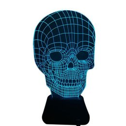 Wholesale Skull Knobs - S5Q Personality Creative Skull Headlights 3D LED 7 Color Change Night Light Table Lamp AAAGPK