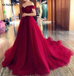 Wholesale Long Line Sweetheart Corset Dress - A-line Sweetheart Off Shoulder Evening Dresses Pleated Tulle Corset Long Burgundy Formal Gowns Court Train Party Wear
