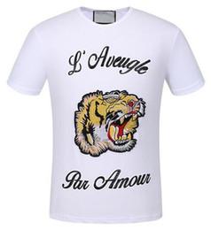 Wholesale Black Par - Value Buy Summer Fashion Men's Casual TShirts Tiger L'Aveugle Par Amour Short Sleeve Polo Shirts Mens Top White Black XXXL
