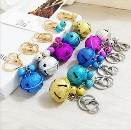 Wholesale Mixed Order Couples Rings - Free Cartoon cute metal candy color bells key ring pendant creative couple car bag pendant accessories R049 Arts and Crafts mix order