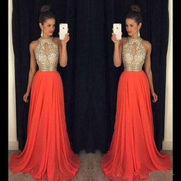 Wholesale Strapless Beaded Chiffon Dress - 2017 High Neck Prom Dresses Orange Beaded Crystals Floor-length Chiffon A-line Evening Dresses Party Dress Evening Gowns