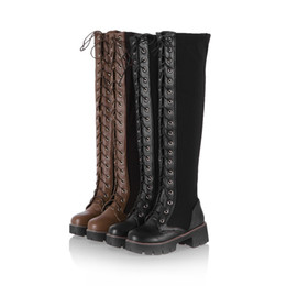 Wholesale Long Knight Boots - 2017 New Punk Locomotive Martin Long Boot Women Thick Long Boot Fashion Lace-Up Side Zipper Elasticity Over The Knee Boot