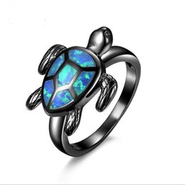 Wholesale Brass Turtle - New 18K Black Gold Filled Finger Ring Turtle Blue Opal Animal Rings For Women Wedding Band Jewelry Gifts JY