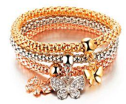 Wholesale Elastic Love Bracelet - Hot Sale 3 pieces set Elastic Charm Bracelets for Women gold Plated Pendant Bangles Fashion Metal Chain Jewelry Free Shipping
