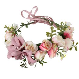 Wholesale Wholesale Kids Crowns - Kids Head Wreaths Flower garland Headband Boho Floral Crown garlands photography hair accessories beach headband C504