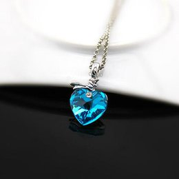 Wholesale Ornaments Artificial Crystals - The heart of the ocean and a short necklace female girlfriend gift artificial crystal blue heart-shaped ornament Necklace
