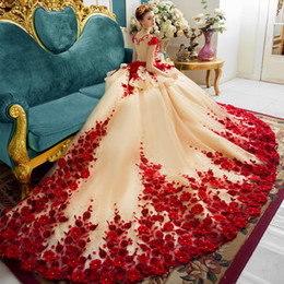 Wholesale Long Dresses One Hand - 2017 New Luxury Champagne Red Hand Flowers 1M Train Prom Dresses Evening Dress Celebrity Party Gowns Vestido De Festa Arabic Muslim Dress