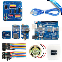 Wholesale Card Arduino Uno - Freeshipping Wav Player Kit with UNO R3 Micro SD Card Touch Sensor Module and Speaker for Arduino Voice Broadcast