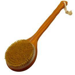 Wholesale Detox Massager - Wholesale-Shower Back Spa Scrubber Long-handled Bristle Massager Detox Exfoliating Wooden Brush