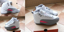 Wholesale Vivid Canvas - New Sale Air Retro 12 XII Vivid Pink White Grey Women GS Basketball Shoes AA High Quality Wholesale Size USA 5.5 8.5 Sneakers