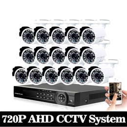 Wholesale Mobile Dvr Systems - 16ch AHD CCTV System 1.0MP 2000tvl DVR Kit 16CH Full AHD 720P 960h DVR 16pcs 720p CCTV Cameras PC&Mobile View Plug And Play