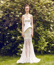 Wholesale China Wedding Dresses Online - Asymmetrical Lace-Satin Wedding Dresses Strapless Unique Wedding Dresses Online China Mermaid Bridal Wear Free Shipping Custom Made