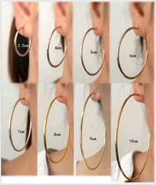 Wholesale Hook Brass - Large Round Circle Ear Clip Fashion Trends DJ Night Club Nude Smooth Surface Huggies Hoop Earrings Ear Hook for Sale