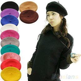 Wholesale French Artist Beret - Wholesale-New Fashion Solid Color Warm Wool Winter Women Girl Beret French Artist Beanie Hat Ski Cap 12 Colors 01ZM 4NAD