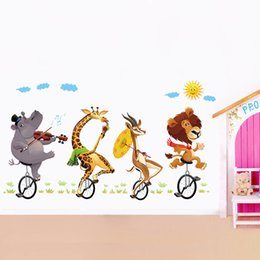 Wholesale Decal Elephant - Lovely Lion Elephant Wall Stickers Bike Animal Wall Decals for Kids Boy Living Room Bedroom Home Decorations