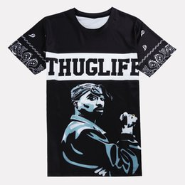 Wholesale Cheap Designer Shirts Men - Hip Hop Tupac Shakur T-Shirt Designer Summer Tee Men Black 3D Printing Shirts Fashion Cheap T shirts S-XXL MDLG0418