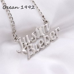 Wholesale Justin Bieber Pendant Necklace - Wholesale-Ocean 4 color fashion vintage justin bieber pendants necklaces gold black antique silver bronze for women jewelry