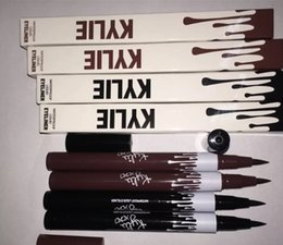Wholesale Cosmetic Pen Dark Brown - Hot Kylie Jenner Black Brown Liquid Eyeliner Long-lasting Waterproof Eye Liner Pencil Pen Nice Makeup Cosmetic Tools Kylie
