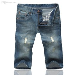Wholesale Jeans Breeches - Wholesale-Lowest Sales ! 2015 Summer New Men's Fashion Denim Shorts Nutty Loose Straight Jeans Breeches Hole Beggar