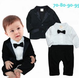 Wholesale Baby Boy Clothes Black Tie - Spring Autumn New Baby Boys Rompers Gentlemen Bow Tie Long Sleeve One Piece Jumpsuits +Black Coat Infant Clothes 17900