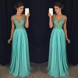 Wholesale Dresses Chifon - vestido de festa Deep V Neck Prom Dresses Hunter Chifon With Crystals Sweep Train Evening Party Formal Gowns