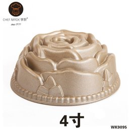 Wholesale golden dishes - Wholesale- Chef Made Cake Pans Mini Golden Rose Nonstick Cake Mold Hollow Baking Pan Moule A Gateau Rond Baking Dish Bakeware