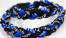 Wholesale Ge Titanium Necklaces - Promotion - 350PCS Lot Baseball Sports Titanium 3 Rope Braided Black Black Blue GE Necklace RT054