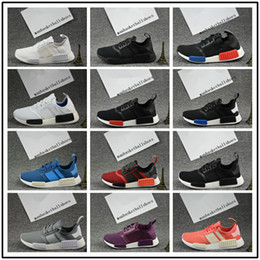 Wholesale Mens Light Blue Shoes - 2017 New Nmd R1 Black and White Grey Men Women Running Shoes NMD nmd R1 Sport Sneaker Mens Shoes Size 36-45