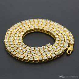 Wholesale Rhinestone Products - Free shipping 2017 new men hip hop necklace 1 row of single row full alloy Choker Necklace tide products essential Dance Club