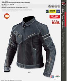 Wholesale Racing Jacket Coat - Komine Jk006 Net Denim Fabric Denim Coat Breathable Fabrics Motorcycle Clothing Racing Suit Automobile Race Clothing Dark Blue
