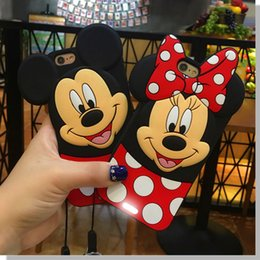 Wholesale Iphone Cover Lover Cartoon - Cute Cartoon 3D Mickey Minnie Lover Case Mouse Soft Silicone Whole Covered Back Cover Shell for iPhone 5 5S 6 6s 6plus 6sPlus